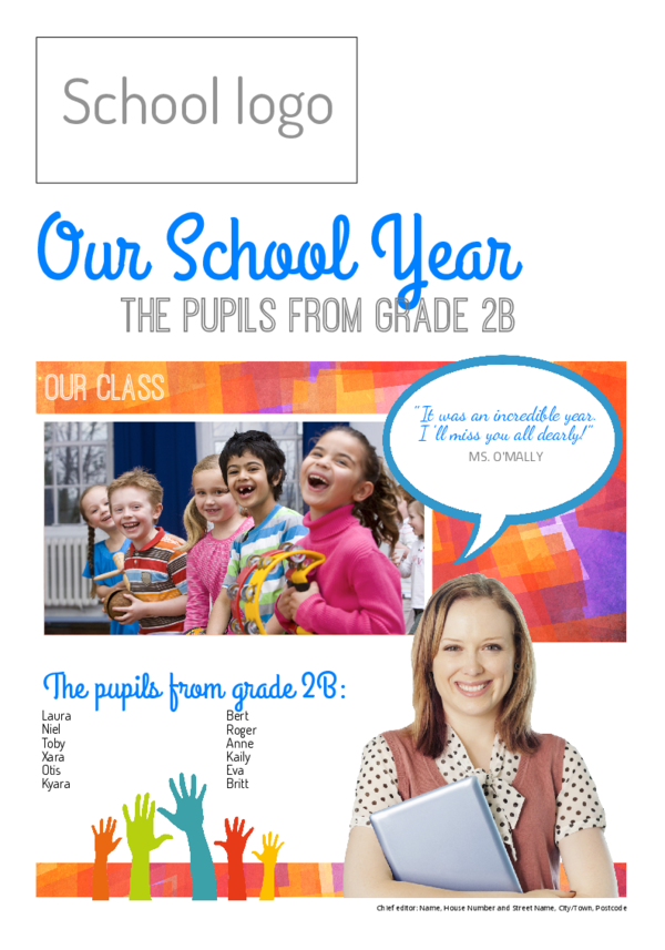 Make your own newspaper template end of school year | Happiedays