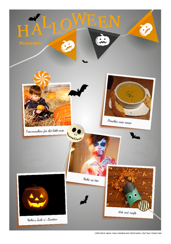 Make your own newspaper template halloween | Happiedays