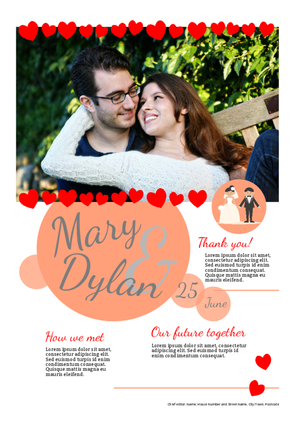 Make your own newspaper template wedding thank you | Happiedays